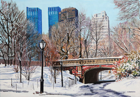 SOLD OUT   |   Bridge in Central Park - Oil - 10 P (55 x 38)