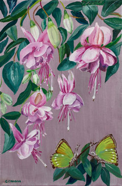 Callophrys and Fuchsia - Oil - 6 P (41 x 27)