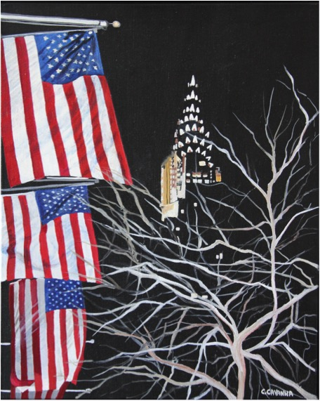 Chysler building and american flags - Oil - 6F (41X33)