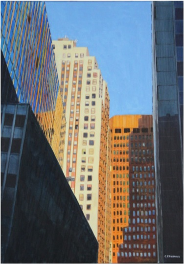 Down Town in late afternoon - Oil - 15M (65X46)