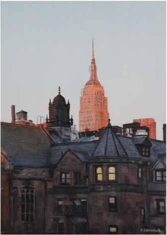 Empire State Building and sunset - Oil - 8P (46X33)