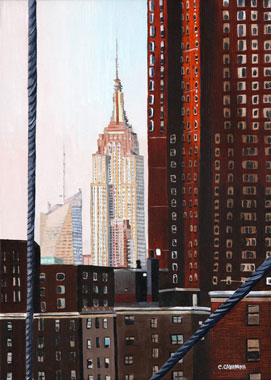 SOLD OUT   |   Empire State from Brooklyn Bridge - Oil - 8 P (46 x 33)
