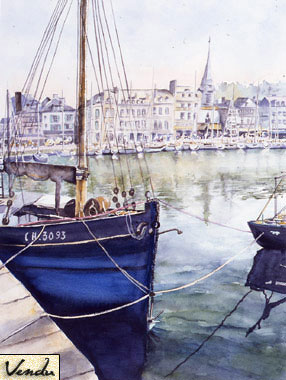 SOLD OUT   |   Fishing Boat in Honfleur - Watercolor - 66 x 54 cm