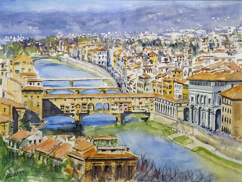 Florence : View From Piazzale Michelangelo - Watercolor - 55 x 67 cm