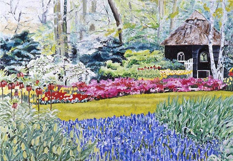 SOLD OUT   |   Garden in Amsterdam - Oil - 10 P (55 x 38)