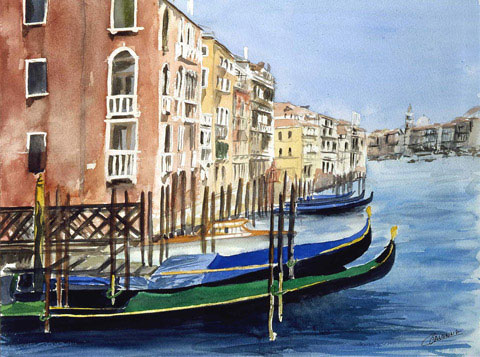 Gondolas Waiting on The Big Canal - Watercolor - 60 x 74 cm