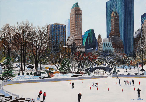 Ice Ring in Central Park - Oil - 10 P (55 x 38)