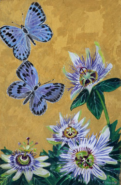 Large Blue and Passion Flower - Oil - 6 P (41 x 27)