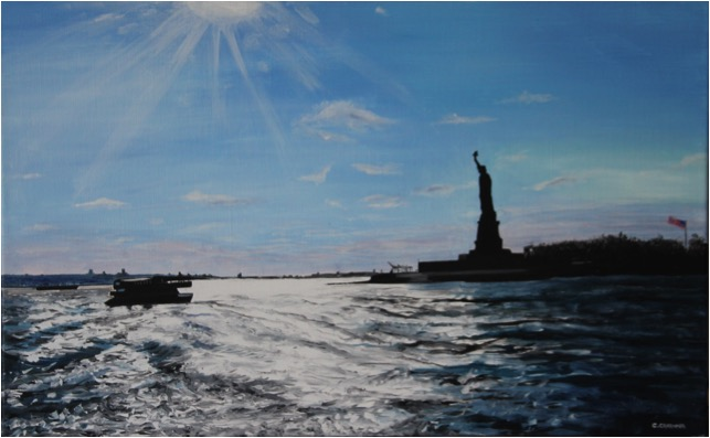 SOLD OUT   |   Liberty Statue against the light - Oil - 12M (61X38)