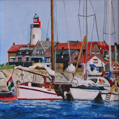 Little Harbour in Holland - Oil - 30 x 30 cm