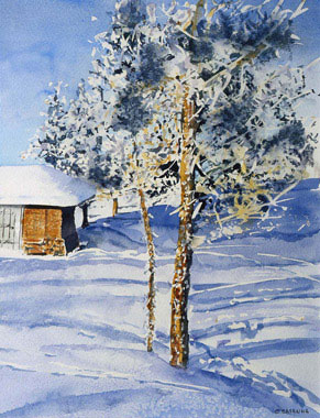 My Canadian Hut - Watercolor - 44 x 53 cm
