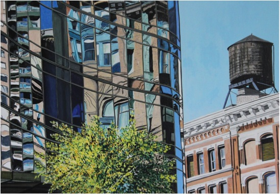 New and old buildings - Acrylic - 15M (65X46)
