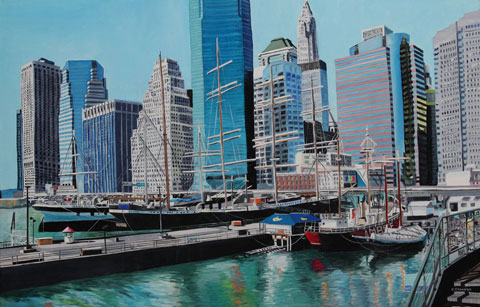 New-York the Piers - Oil - 40 M (65 x 100)