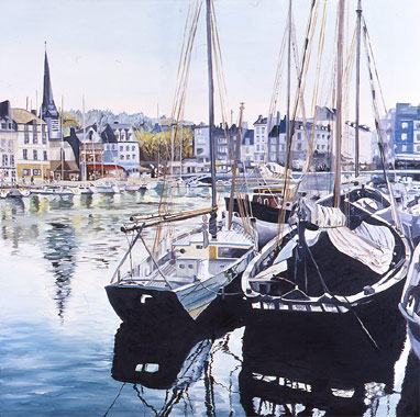 Old Fishing Boats in Honfleur - Oil - 80 x 80 cm