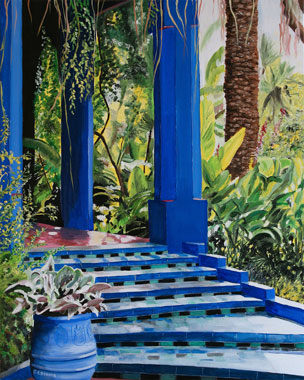 SOLD OUT   |   On The Pergola's Threshold - Majorelle Garden - Oil - 25 F (81 x 65)