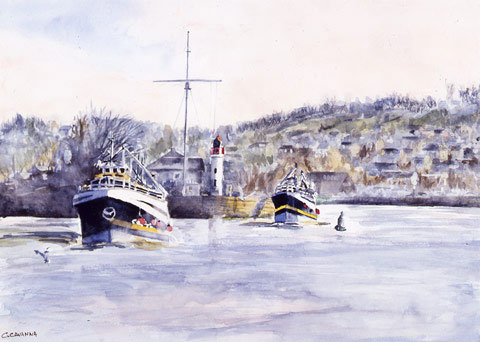 On The Way Out of Honfleur Harbor - Watercolor - 60 x 48 cm