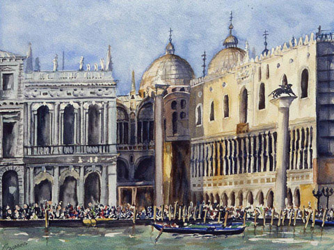 Piazzetta : View from The Big Canal In Venice - Watercolor - 55 x 67 cm