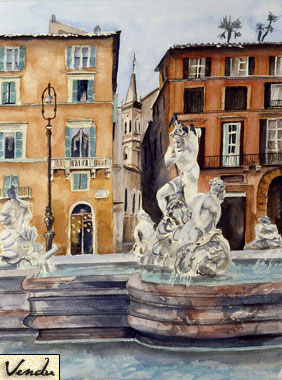 SOLD OUT   |   Rome : Piazza Navona - Watercolor - 55 x 67 cm