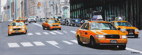 Taxis in NYC - Oil - 20 x 51 cm