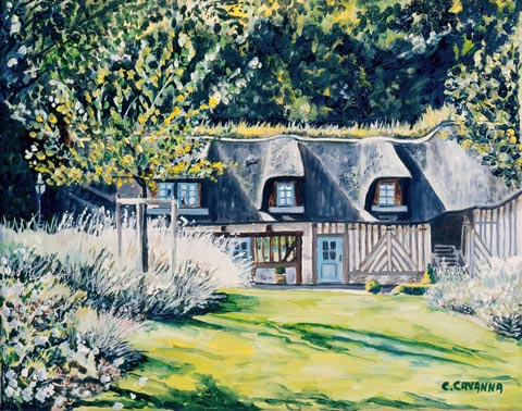 SOLD OUT   |   Thatched Cottage in Honfleur - Oil - 6 F