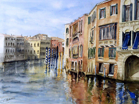 The Big Canal - Watercolor - 60 x 74 cm
