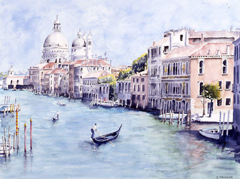 The Big Canal in Venice - Watercolor - 61 x 74 cm