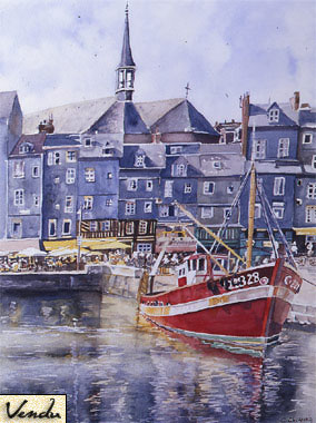 SOLD OUT   |   The Red Fishing Boat in Honfleur - Oil - 66 x 54 cm