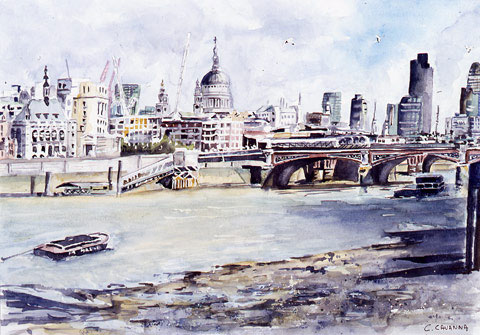 The Thames Side - Watercolor - 60 x 48 cm