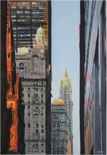 Trinity church and Woolworth building - Oil - 50X70