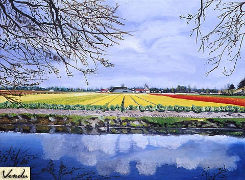 SOLD OUT   |   Tulip Fields in Amsterdam - Oil - 20 P (73 x 54)