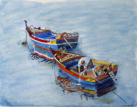 Two Boats - Watercolor - 50 x 59 cm