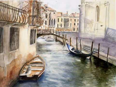 Venise in The Fall - Watercolor - 60 x 74 cm