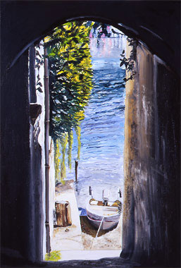 Waiting Boats on The Orta Lake - Oil - 38 x 55 cm
