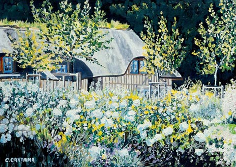 SOLD OUT   |   White Roses and Thatched Cottage - Oil - 8 P